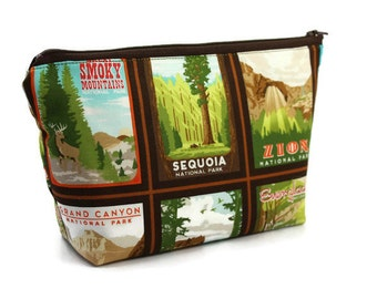 Large Cosmetic Bag - Makeup Bag - Accessory Bag - Make up Bag - Toiletry Bag - Gadget Bag -  Jewelry Pouch with in National Parks