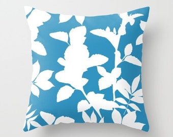 Blue pillow with insert Cover - Blue Decor - Leaves pillow with insert Cover - Modern Home Decor - By Aldari Home