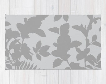 Grey Area Rug - Grey Decor - Botanical Print Rug - Leaves Print Rug - Aldari Home