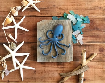 "Iron OCTOPUS Wall Hanging on Reclaimed Wood 7"" x 8.25"""