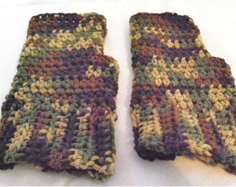 Camouflage fingerless gloves; fingerless mittens; fingerless gloves; Camouflage gloves; Fingerless mitts; Crochet fingerless gloves