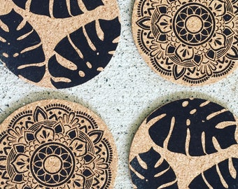 Cork Coasters 100mm D - 4 Pack