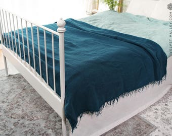 Linen dark teal throw-Turquoise twin/full size blanket-Thick dense softened linen bed quilt