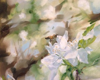Apple Trees and Honeybees, 6x6, original oil painting