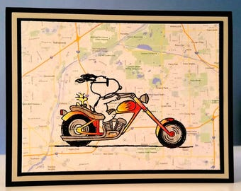 Snoopy and Woodstock Motorcycle Card - All Occasions