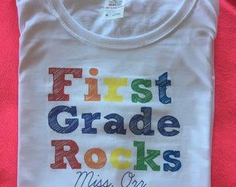 First Grade Rocks, Personalized Gift, Rainbow Teacher Shirt, Unique Gift for Teachers, national teachers day, teacher appreciation gifts