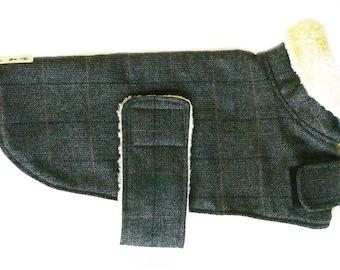 Warm Woolmix Check Dog Coat