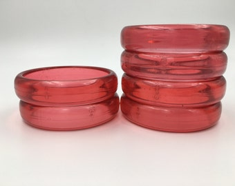 Vintage Lucite Plastic Chunky Bracelet - Clear Red - Chunky Bangle - Red Bangle