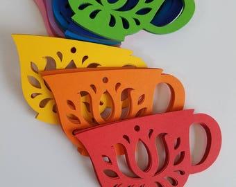 Dutch Style Tea Cup Die Cut Out ( Scrap Booking, Embellishments, Tea Party Decoration )