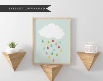 "DOWNLOAD: Raindrops | Nursery Showers | Cloud | 8"" x 10"""