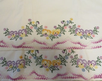 Vintage Pillowcase Pillowslip Set Hand Embroidered Floral Accents and Crocheted Edge