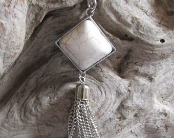 White Howlite Pendant Tassel Necklace Silver Tone Accents