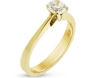 0.55 CT Round Cut Solitaire Diamond Engagement Ring in 18k Yellow Gold Unique Design