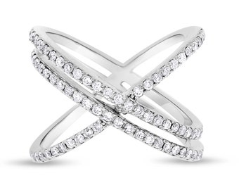 0.58 Ct. Natural Diamond Double Row Crossover X Ring 14k White Gold