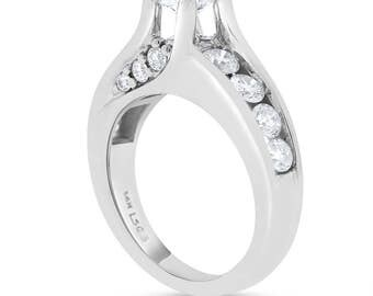 1.53 Ct. Natural Floating Diamond Engagement Ring Solid 14k White Gold