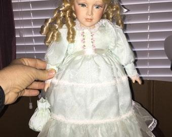 Porcelain Doll, Vintage Doll, Blonde Porcelain Doll, Doll in Blue Dress, Collector Doll, Decorative Doll