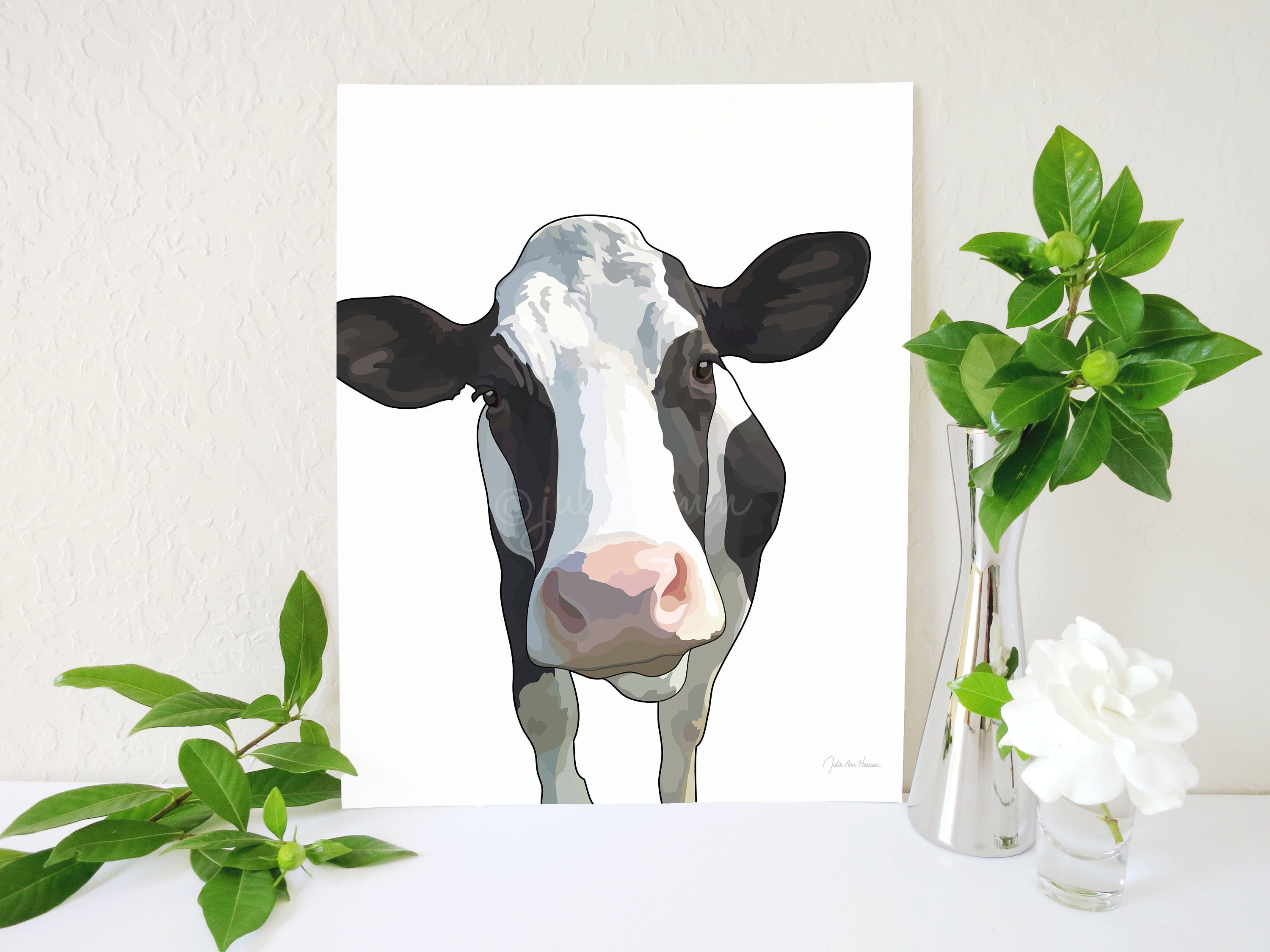Cow Art Print Cow Painting Holstein Decor Modern Farmhouse Decor Holstein Print