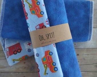 Burp Cloth, double sided flannel burp cloth, baby boy burp cloth, -(set of 2) emergency vehicles