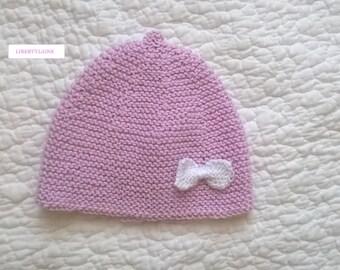 Newborn to 1 month bonnet 100% cotton pink soraya bow white knit cotton.