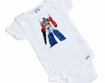 Optimus Prime Transformer Funny Short sleeve Romper / Onesie Funny shower Gift