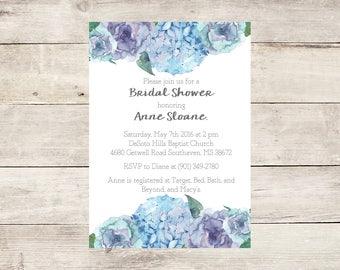 Watercolor Hydrangea Bridal Shower Invitation