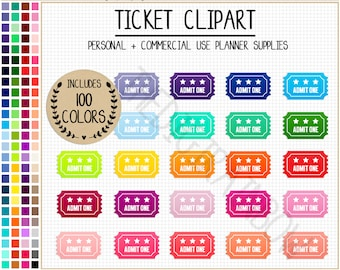 SALE 100 TICKET Clipart Rainbow Movie Ticket Stickers Circus Clipart Ticket  Planner Stickers Admit One Ticket  Blank Admit One Ticket Template