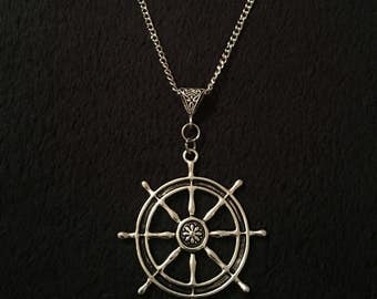 80p UK P&P Hand made Rudder ship steering wheel charm necklace on 30inch chain, anchor nautical pendant silver rockabilly steampunk sai