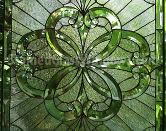 """The """"Pacifica"""" Magnificent! Beveled Blitz All Clear  Stained Glass Panel (we do custom work, email me for quote)"""