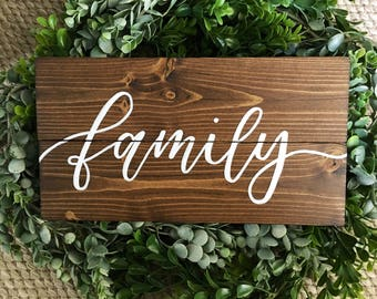 Family rustic wood sign - dark walnut stain