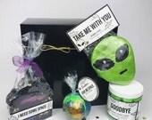 Give Me Some Space. Space themed bath set. Gift box. Soap, sugar scrub, bath bomb and bubble bar.