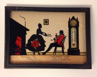 Vintage Framed Salesman's Sample Silhouette Thermometer by Advertising Novelty Co.