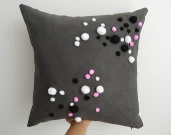 """Custom pom pom """"A Beautiful Mess"""" 50x50cm cushion with eco friendly insert"""