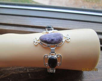 Marvelous Russian Charoite & Purple Onyx 925 Sterling Silver Bracelet 7' to 8' Adjustable, Wt. 23.6 Grams