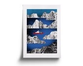 Arctic ship. Illustration. High quality giclee print.