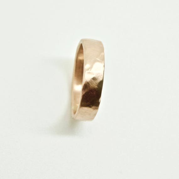 Rose Gold Molten Ring in 18 Carat - Unisex Wedding Ring