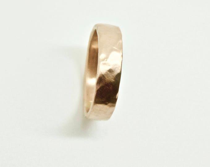 Rose Gold Wedding Band - Organic Ring  - 18 Carat Gold Molten Ring - Wedding Ring