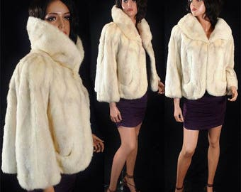 Vintage Ivory Mink Jacket with Taupe shading on the pelts