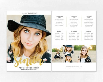 Photography Pricing Template - Price Guide List for Photographers - Senior Photographer Photo Price Sheet - Price Guide - PG012