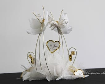 Holder, romantic wedding white and gold with butterflies flowers feathers pearls personalized labels