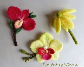 Needle felted flower brooches- orchids/ coneflower handmade OOAK each sold individually