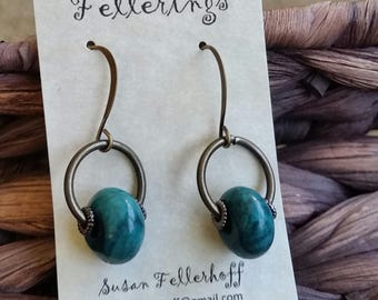 Dangle Earring - Blue-Green Bead - Handmade - Emerald Color Bead - Lightweight Earring - Drop Earring- Nickel Free Earwire