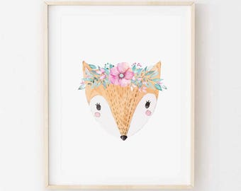 Flora Fox - Children's art. Watercolor fox wearing flower crown. A4 Print