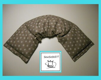 Microwavable Heating Pad, Neck Warmer, Rice Heating Pad, Flax Seed, Sunny Heat Pack, Gray White Impressionist Dots