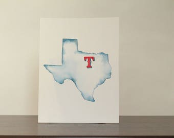 Texas Rangers Original Watercolor Painting
