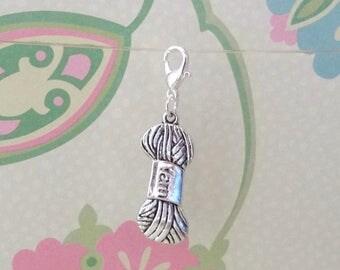 Silver Yarn Clip On Bracelet Charm/Purse Charm/Zipper Pull/Planner Charm - Ready to Ship