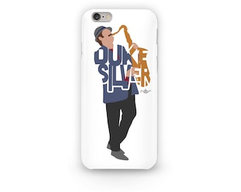 "Duke Silver Phone Case Typography Design of Ron Swanson from Parks And Rec with his name ""Duke Silver"" playing the Saxophone Ron Swanson"