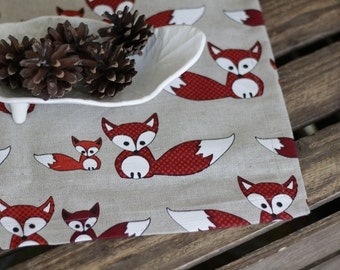TABLE Runner fox baby woodland animal linen dinning table decor flax linens housewares tablecloth home decoration