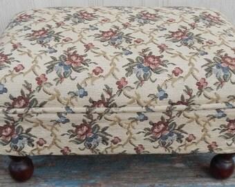 Cottage Chic Floral Brocade Vintage Footstool!
