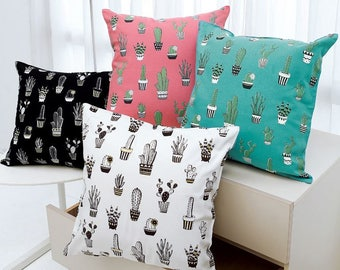 Cactus Pattern 20s Cotton Oxford Fabric - 4 Colors Selection