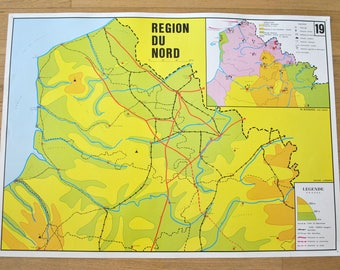 Old map double-face - France: Northern Region, Eastern Region. By NIGHTINGALE